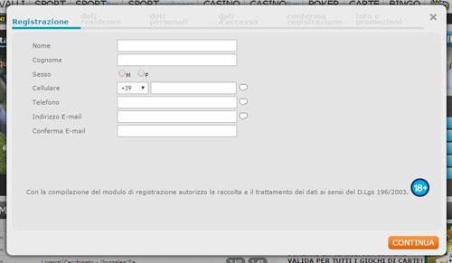 Registrazione a Betflag