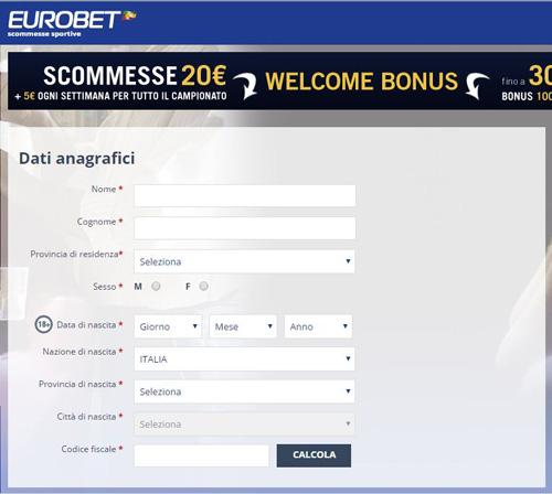 Eurobet scommesse registrazione al portale