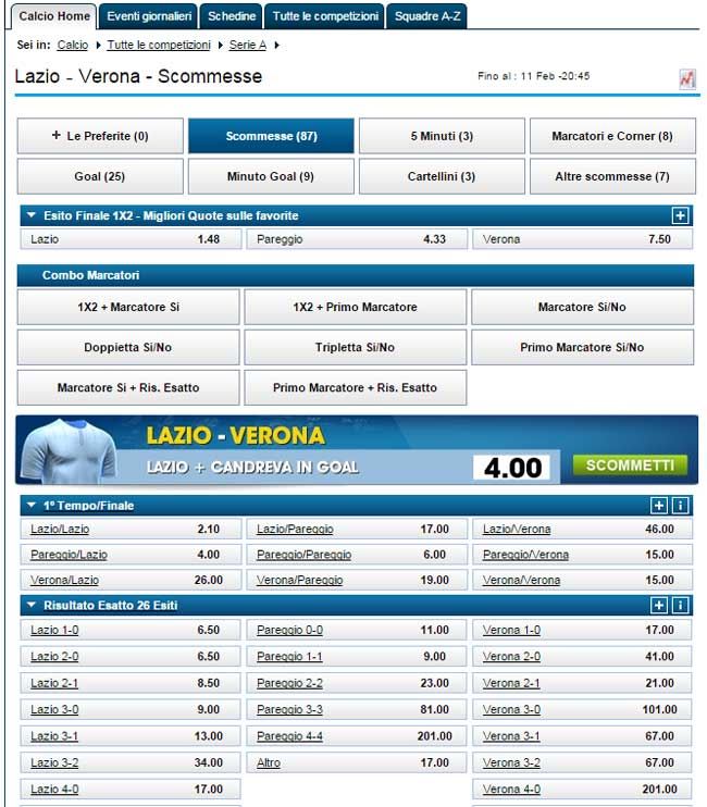 William Hill interfaccia di gioco