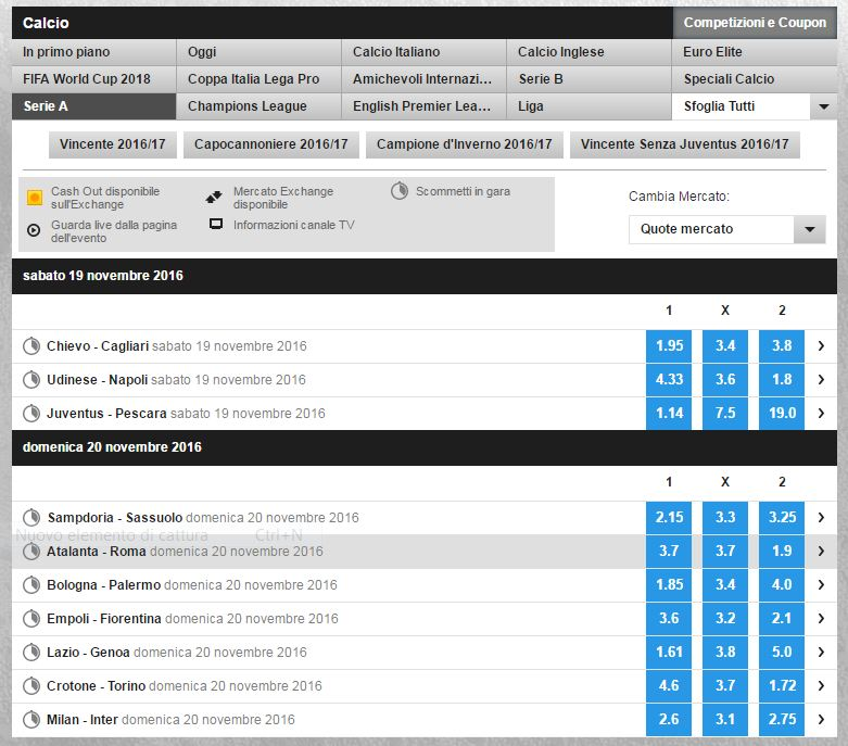betfair interfaccia grafica